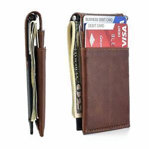 The Latcher Minimalist Wallet & Card Case Companion; Brown / Genuine Leather