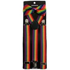 Gay Pride Rainbow Suspenders and Bow Tie Set Adjustable Unisex Wedding Formal