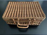 Vintage Wicker Rattan Briefcase / Travel / Sewing Case