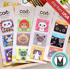 Lot 12pcs Korean Stationery Cat Magnetic Bookmark Novelty Cute Kawaii Cartoon US