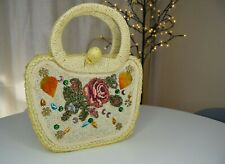 Handmade Woven straw hand bag embroidery beads applique quirky retro floral