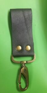 fob holder.belt loop black leather with bronze tone vest extenders#38A
