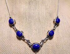 "Vintage Navajo Sterling Silver LAPIS LAZULI Necklace 18"""