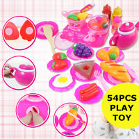 Kids Children Fake Pretend Role Play Kitchen Cooking 54Pcs Food Set Toy Gift