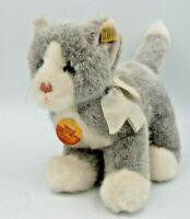"""Vintage Steiff Kitten """"Mizzi"""" grey & white, 8"""", #2720/22, tags & button, Austria"""
