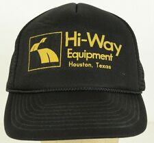 Hi-Way Equipment Houston TX Black vintage Mesh Trucker Baseball Hat Cap Snapback
