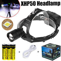 Super-bright 950000LM XHP50 Zoom T6 LED Headlamp Headlight Flashlight Head Torch