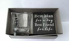 """Best Man"" GIFT-Whisky Glass AND Coaster Set in a PRESENTATION GIFT BOX-NEW"