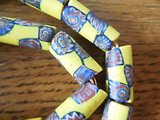 African vintage trade beads Yellow with blue checkerboard Milleflori 30 inches