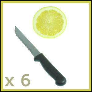 x 6 Steak Knives  Set Serrated Edge Steel Utility Knife  Steaks Cutlery Utensil