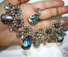 AB Rhinestone Austrian Crystal Choker Necklace Earring Set Pageant Prom Bridal