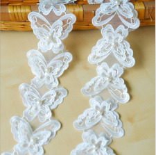 1 Yards White Butterfly Pearl Lace Trim Wedding Ribbon Applique Sewing Crafts