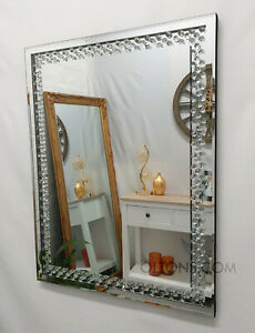 Floating Crystal Rectangle Wall Mirror Glass Diamond Frame Silver 80x60cm Bling