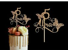 BUTTERFLY PERSONALISED GLITTER CARDSTOCK BIRTHDAY CAKE TOPPER DECORATION