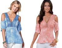 Ladies Cold Shoulder Tie Dye Lace V Neck Boho Tunic Party Top Plus Size 14 16 18