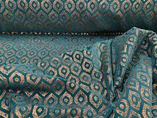 Mistral Ikat Metallic Chenille   Velvet Teal Copper Curtain/upholstery Fabric