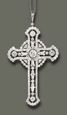 Solid 925 Sterling Silver 45mm Height Round White Cz Cross Pendant Jewelry Women