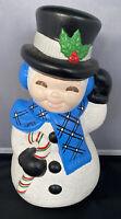 "VTG Ceramic Mold Painted VTG Snowman Large 12"" Xmas Frosty Top Hat"