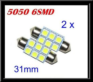 2 x CAR 12V LED 31MM FESTOON INTERIOR WHITE LIGHT BULB 5050 6SMD AUTO DOME GLOBE