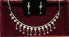 Mariell Iridescent AB Crystal Choker Necklace + Earring Set for Bridal Prom ....