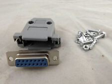 D-Sub DB15 15 Pin 2 Rows Female Jack Connector Gray Plastic Hood Cover Backshell