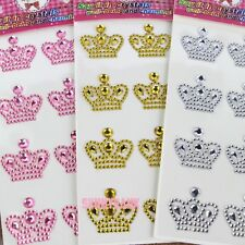 Crown Rhinestones Self Adhesive Sticker on Crystal Wedding Kids Party Craft