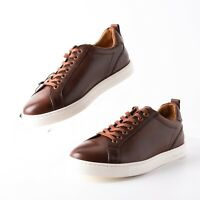 Massimo Dutti Mens Brown Nappa Leather Plimsolls Sz 7 Eu 40 Sneakers 4112/022
