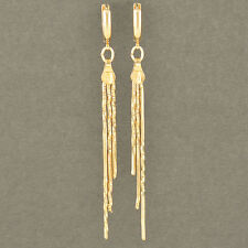 Fashion 9K Solid Gold Filled statement Womens long Dangle Tassel Earrings