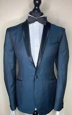 TED BAKER FASHION LUXURY DESIGNER TUXEDO DRESS SUIT TURQUOISE SHOWL COLLAR 38x32