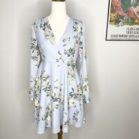 Dotti Floral Dress Size 8 Light Blue Sheath Floaty Long Sleeve V Neck