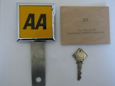 AA CLASSIC CAR BADGE WITH A BUMPER FIXING BRACKET AND BOX KEY