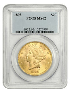1893 $20 PCGS MS62 - Liberty Double Eagle - Gold Coin