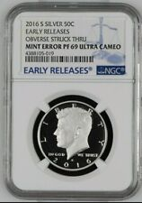 Mint Error 2016 S Silver Proof Kennedy PF 69 UC Early Releases Obv Struck Thru