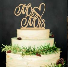 MR MRS WEDDING CAKE TOPPER Wooden Wood Heart Rustic Country Sign Decoration