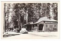 c1940 RPPC GRANT GROVE VILLAGE COFFEE SHOP CARS VINTAGE POSTCARD FRESNO CA OLD !
