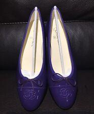 $825 CHANEL CC Classic Bow Violet Purple Patent Leather Ballet Ballerina Flats 8