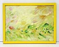 Yellow Floral Abstract 12 x 16 Oil Painting on Canvas w/Custom Frame