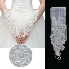 White Cutout Floral Sheer Gloves Elbow Bridal Prom Opera Wedding Formal Party OS