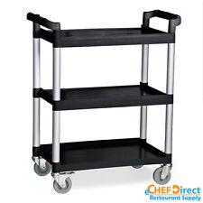 Commercial Polyurethane 3-Tier Black Restaurant Bus Cart - Black