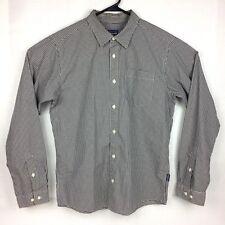 Patagonia Gingham Men's Medium Long Sleeve Button Up Shirt Black White Sz M