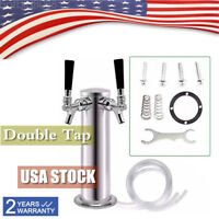 "Stainless Steel, 3"" Diameter Double Faucet Tap Draft Beer Tower"