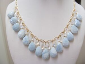 NATURAL OWYHEE OPAL W/ MOONSTONE FACETED BRIOLETTES GOLD FILLED NECKLACE SET