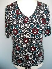 Ladies Top M & S Size16 black white blue red blue cap sleeve v neck bust stretch