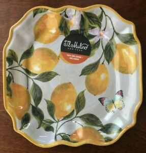 4x Il Mulino MELAMINE Lemon & Butterfly DINNER PLATES Square Scalloped NWT