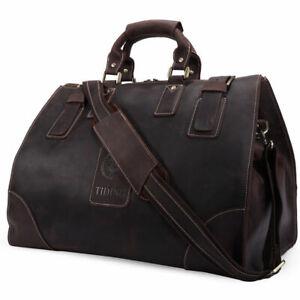 Men Genuine Leather Luggage Travel Bag Overnight Duffle Gym Bag Messenger Bag