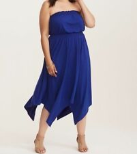 Size 18/20 Torrid Plus Blue Cobalt Blue Smocked Jersey Tube Dress Size 2X