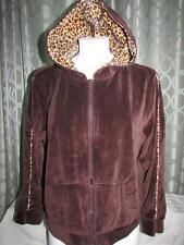 Womens K.I.K.I.T Sport Chocolate Brown Velvet Hoodie Hood Lined Animal Print XL