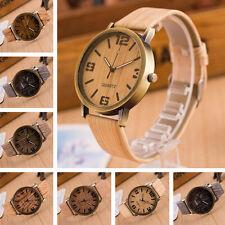 GS:Herren Damen Armbanduhr Quarzuhr Lederband Watch Sportuhr Holz-Design M9306
