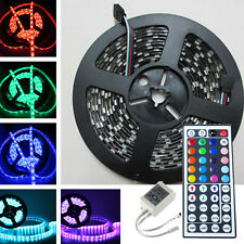 Black PCB SMD 5050 Flash RGB Led Strip Lights Waterproof 5M 300Led+IR Controller