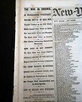 2nd SECOND BATTLE OF BULL RUN & Richmond KY Kentucky 1862 Civil War Newspaper